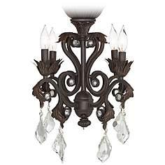 4 Light Oil Rubbed Bronze Chandelier Ceiling Fan Kit