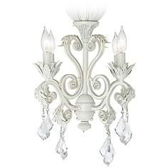 4 Light Rubbed White Chandelier Ceiling Fan Kit