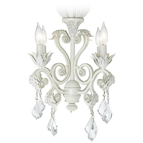 4 Light Rubbed White Chandelier Ceiling Fan Light Kit