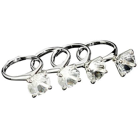 Set of 4 Godinger Diamond Ring Silver Napkin Rings