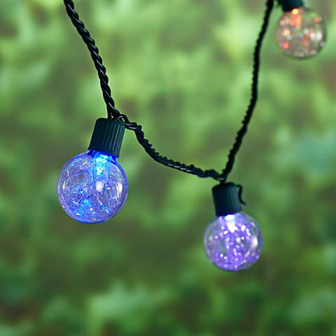 10 Light LED Color Changing Silver Tinsel Ball String Set