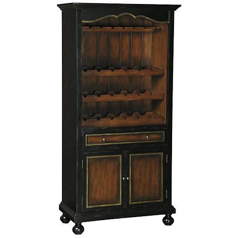 Pulaski Dino Distressed Black Beadboard Wine Cabinet