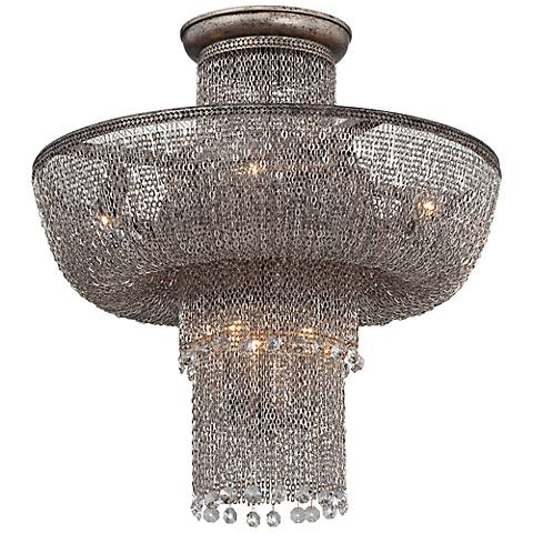 "Shimmering Falls 18"" Wide Antique Silver Ceiling Light"