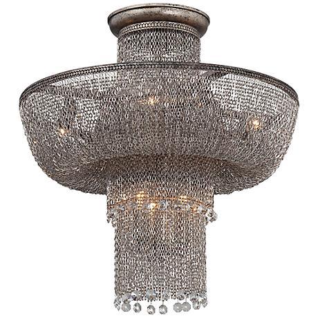 "Shimmering Falls 18"" Wide Antique Silver Ceiling Light"