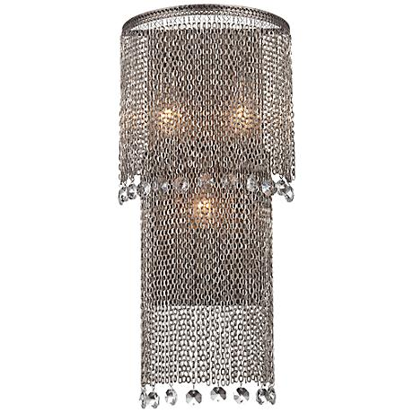 "Shimmering Falls 13"" High Antique Silver Wall Sconce"