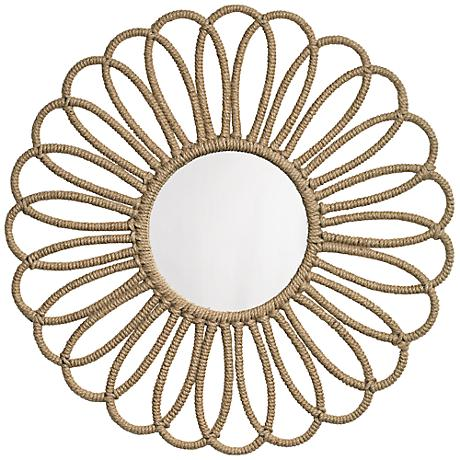 """Jamie Young Large Flower 36"""" Round Jute Wall Mirror"""