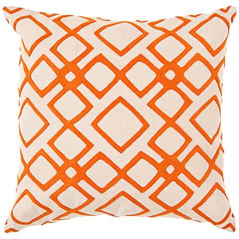 "Surya 18"" Square Orange Decorative Pillow"