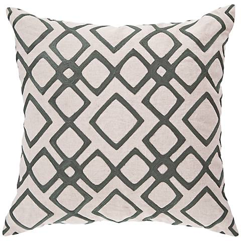 "Surya 18"" Square Gray and Pewter Decorative Pillow"