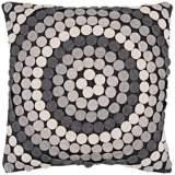 "Surya 18"" Square Circle Design Gray Decorative Pillow"