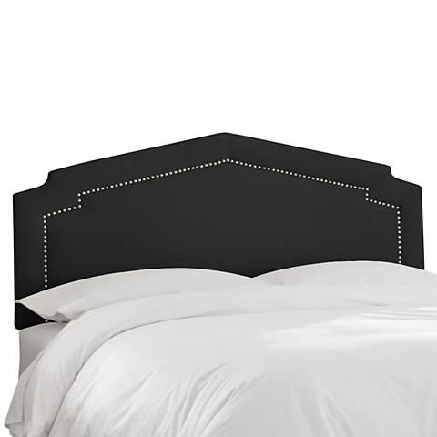 Shantung Black Inset Nail Button Headboard