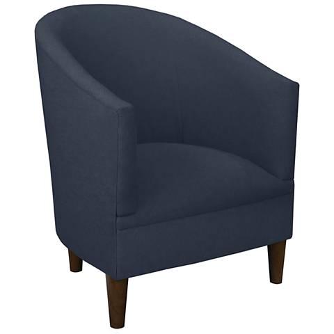 Tilley Navy Blue Linen Tub Chair