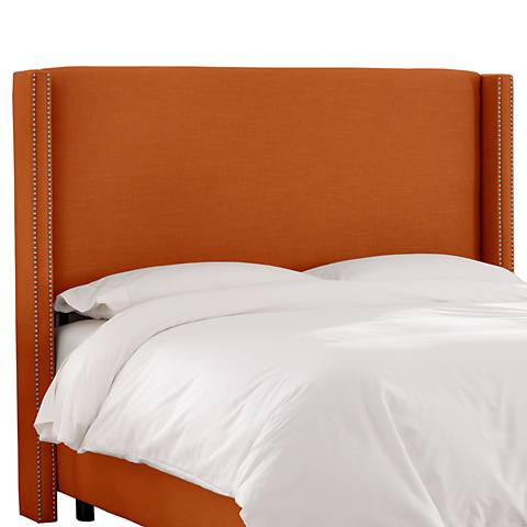 Linen Patriot Tangerine Nail Button Wingback Headboard
