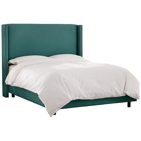 Linen Laguna Nail Button Wingback Bed