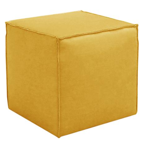 French Seam Linen French Yellow Square Ottoman