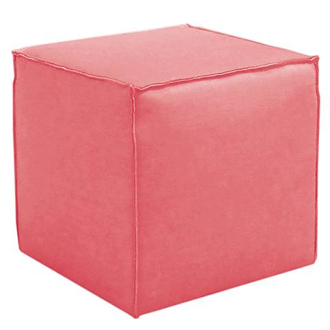 French Seam Linen Coral Square Ottoman