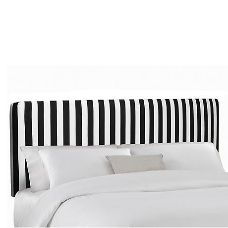 Canopy Stripe Black and White Upholstered Headboard