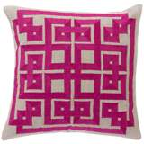 "Surya 18"" Square Plum and Taupe Geometric Design Pillow"