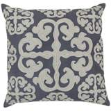 "Surya 18"" Square Ivory and Gray Scroll Design Pillow"