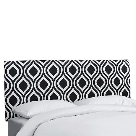 Emily Black and White Upholstered Headboard