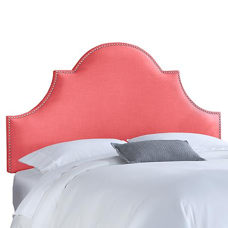 Coral Linen Nail Button High Arch Notched Headboard