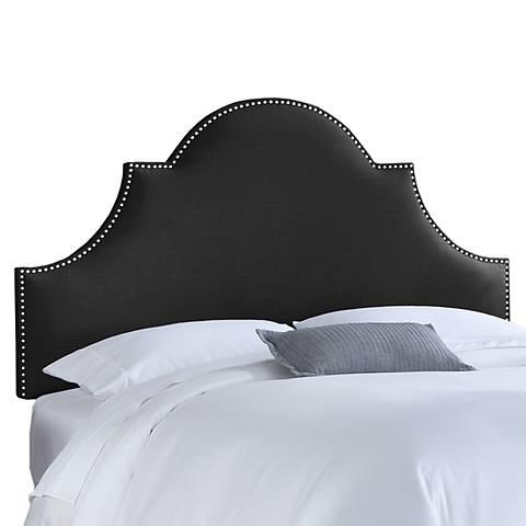 Black Linen Nail Button High Arch Notched Headboard