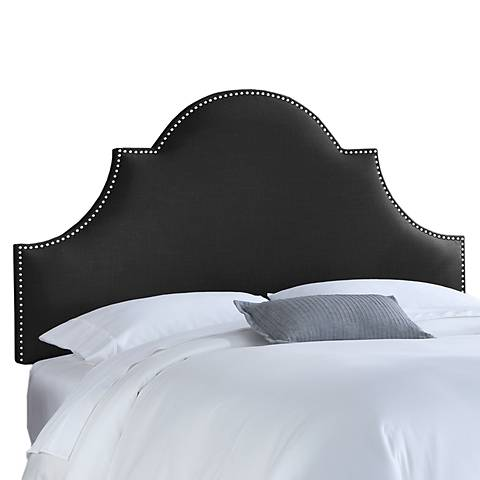 Black Linen Nail Button High Arch Notched Headboard