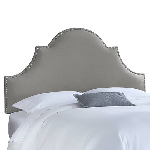 Gray Linen Nail Button High Arch Notched Headboard