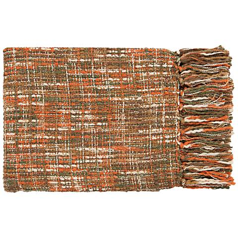 Surya Tabitha Collection Green and Orange Throw