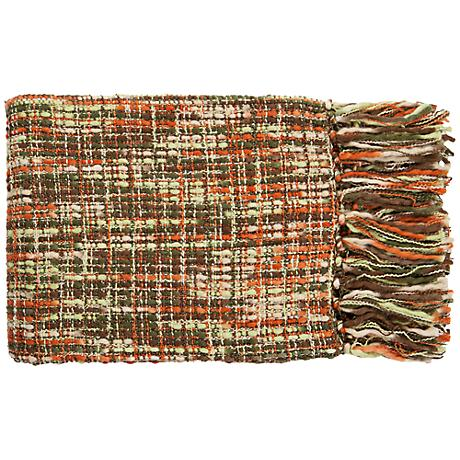 Surya Tabitha Collection Orange and Green Throw