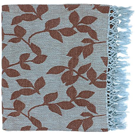 Surya Timora Collection Brown Leaf Design Throw