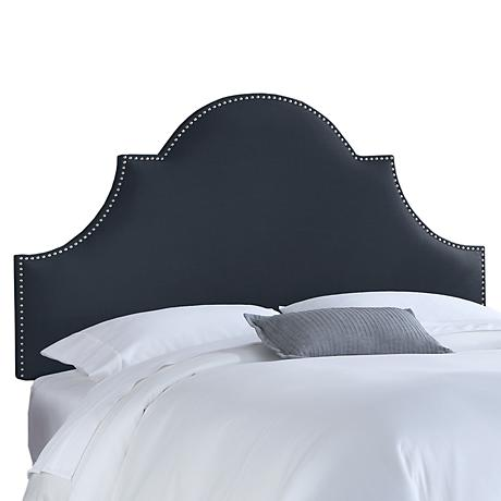 Navy Linen Nail Button High Arch Notched Headboard