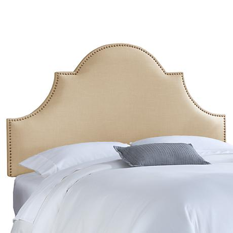 Sandstone Linen Nail Button High Arch Notched Headboard