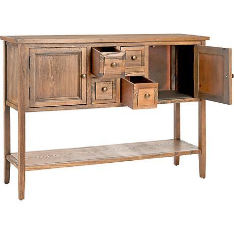 Shaylene Oak 4-Drawer Wood Sideboard