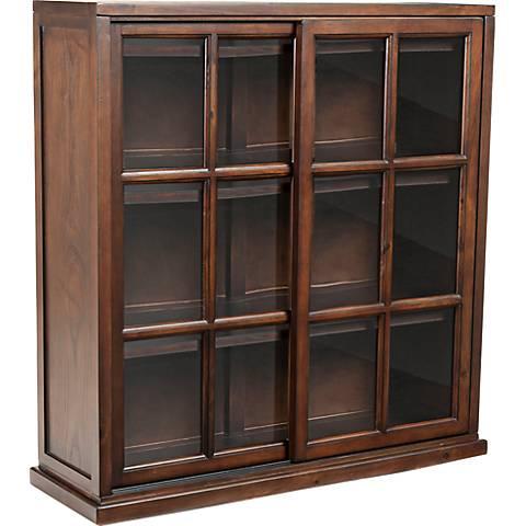 Swayzee Sliding Doors Dark Wood Bookcase