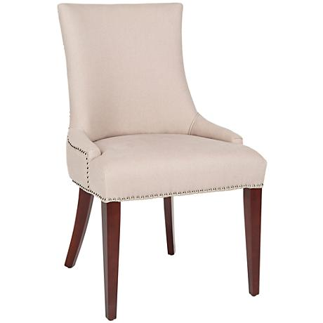 Becca Taupe Upholstered High Back Chair