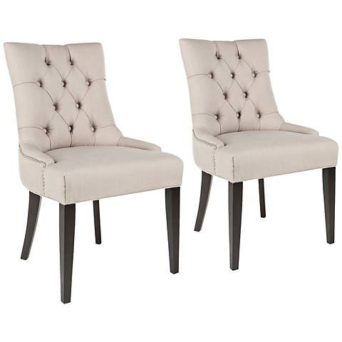 Kelsie Taupe Upholstered Side Chairs Set of 2