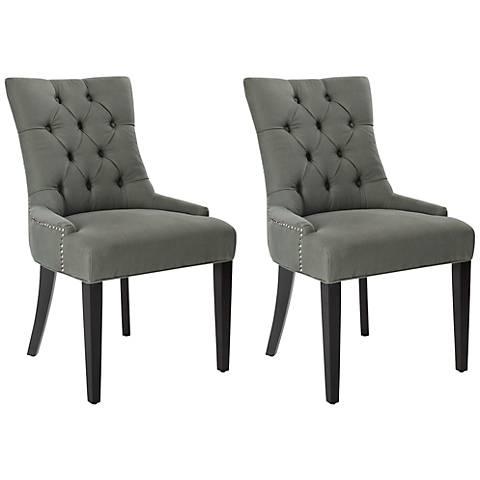 Kelsie Dark Gray Upholstered Side Chairs Set of 2