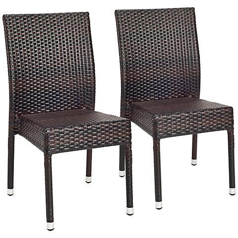 Shaley Tiger Stripe Pattern Wicker Side Chairs Set of 2