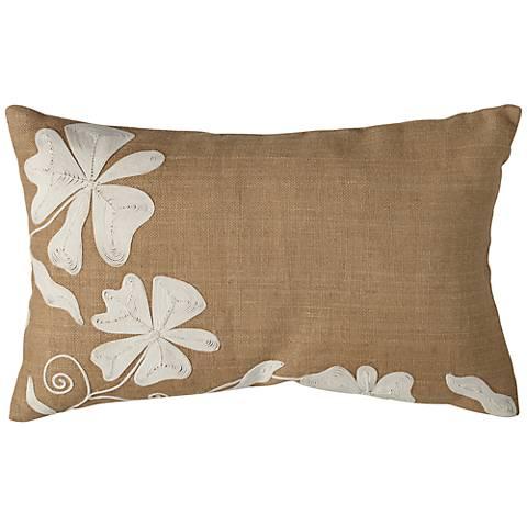 Dori Jute Burlap 23 x 14 Lumbar Pillow with Floral Pattern