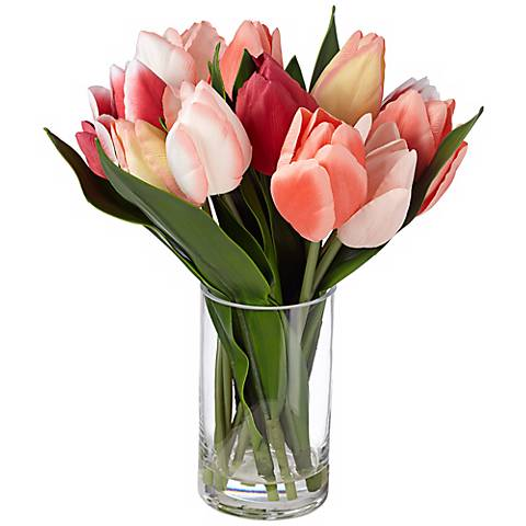 "Tulip 12 1/2"" Wide Faux Silk Flowers in Clear Glass Vase"