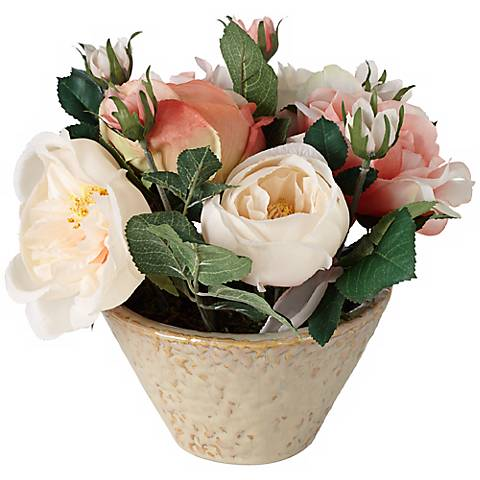 White and Pink Roses in an Ivory and Natural Ceramic Pot