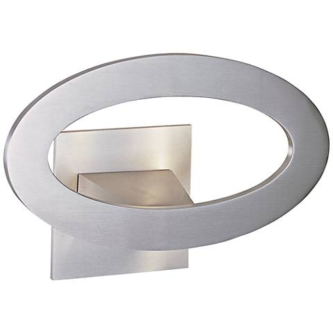 "ET2 Alumilux 10"" Wide Satin Aluminum LED Oval Sconce"