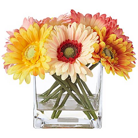 "Silk Gerber 10 1/2"" Wide Daisies in Clear Square Glass Vase"