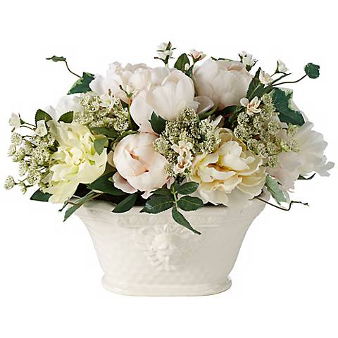 "White Peonies and Roses 14""H Flowers in a Large Ceramic Pot"