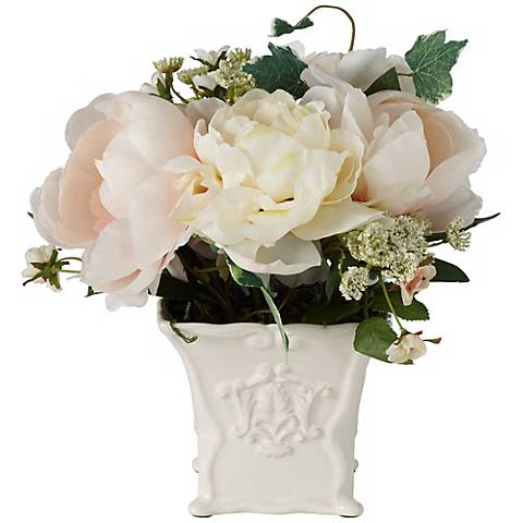 "White Peonies and Roses 10 1/4""W Flowers in a Ceramic Pot"