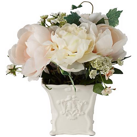"""White Peonies and Roses 10 1/4""""W Flowers in a Ceramic Pot"""