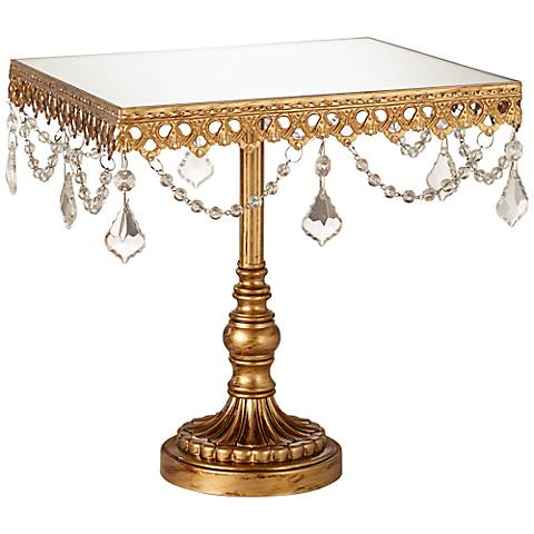 "Elisa Antique Gold Beaded Mirror-Top 8"" Square Cake Stand"