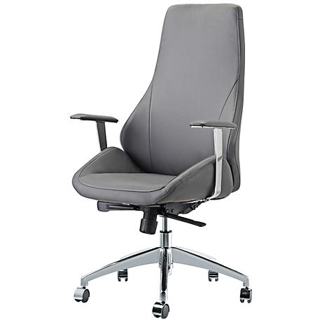 Impacterra Canjun Gray Faux Leather Office Chair
