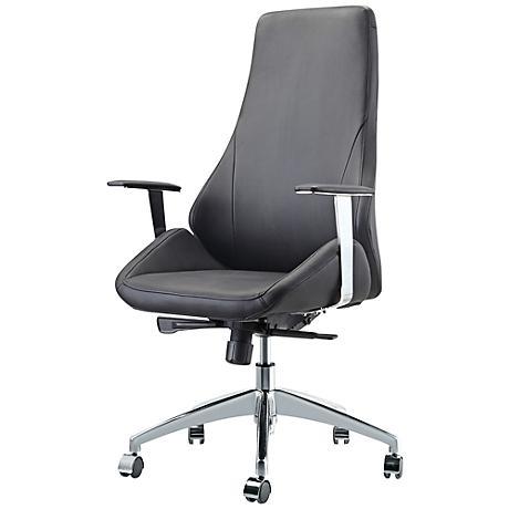 Impacterra Canjun Black Faux Leather Office Chair