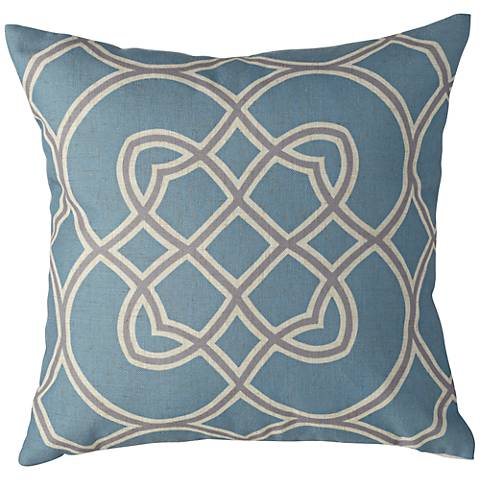 "Surya Light Blue and Gray 18"" Square Decorative Pillow"